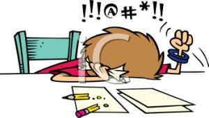 a03e1-0511-1102-1012-1262_cartoon_of_a_frustrated_woman_cursing_while_doing_her_taxes_clipart_image