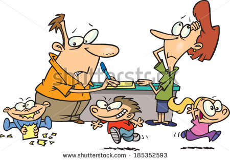 stock-vector-tired-cartoon-parents-with-their-children-running-around-them-185352593
