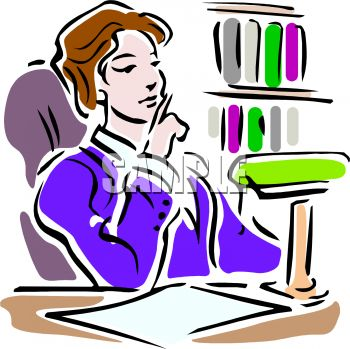 0511-0902-0801-4559_woman_thinking_in_a_library_clipart_image