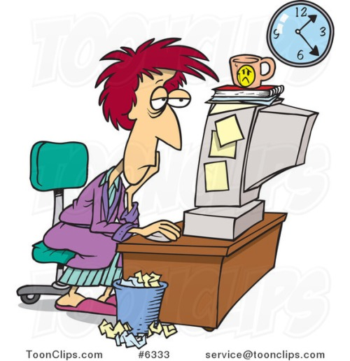 cartoon-tired-lady-trying-to-meet-her-deadline-6333-by-ron-leishman-pg4wob-clipart