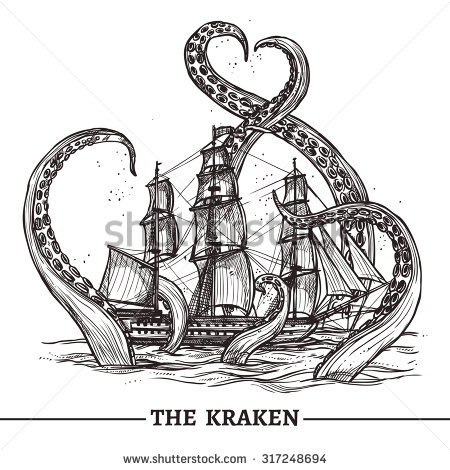 stock-vector-giant-octopus-catches-old-style-sail-ship-hand-drawn-vector-illustration-317248694