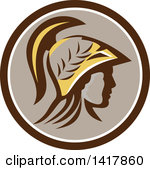 1417860-clipart-of-a-profile-portrait-of-the-roman-goddess-of-wisdom-minerva-or-menrva-wearing-a-helmet-and-laurel-crown-in-a-brown-white-and-taupe-circle-royalty-free-vector-illustration