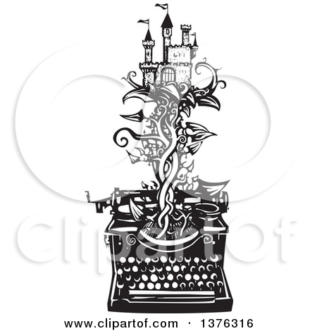 1376316-clipart-of-a-black-and-white-woodcut-fairy-tale-castle-on-a-vine-emerging-from-a-typewriter-royalty-free-vector-illustration