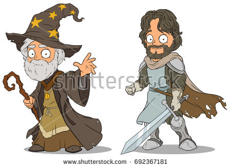stock-vector-cartoon-medieval-wizard-and-brave-knight-with-sword-characters-vector-set-692367181
