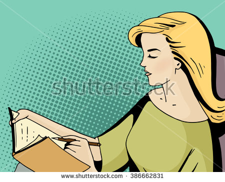 stock-vector-pop-art-blonde-woman-seat-and-keep-a-diary-comic-girl-hold-a-pen-and-write-in-a-book-vintage-hand-386662831