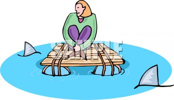 0511-1008-2417-3305_cartoon_of_a_woman_trapped_on_a_raft_with_sharks_circling_clipart_image